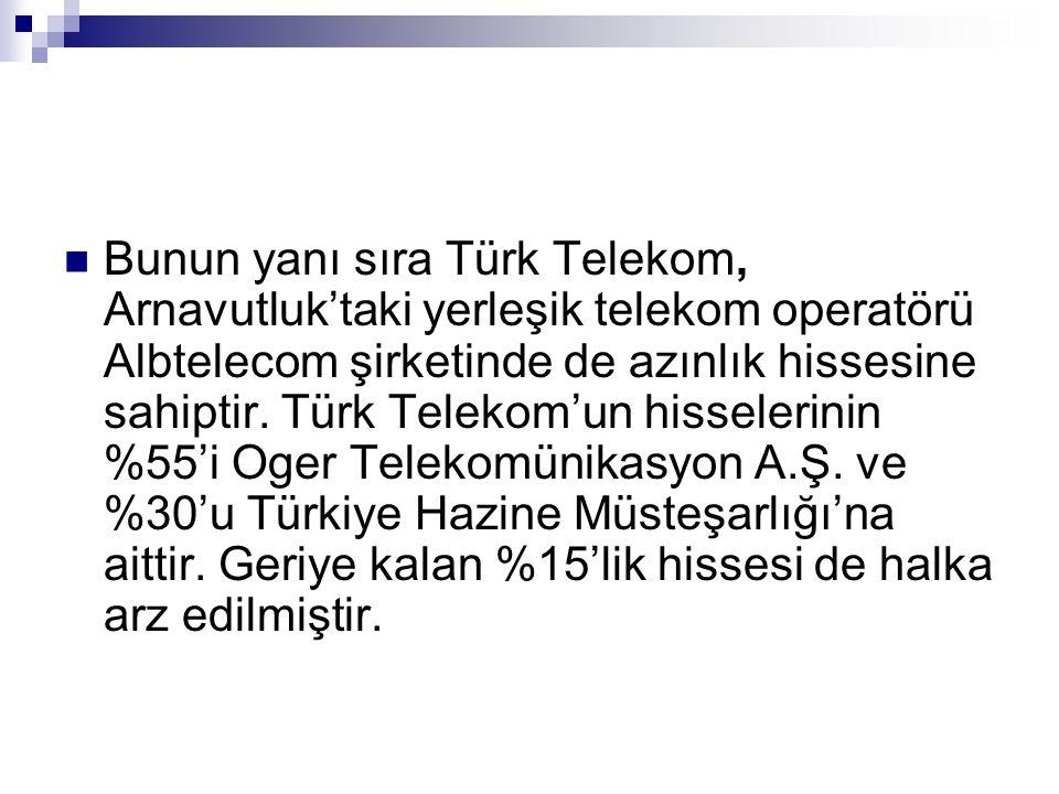 Bunun yanı sıra Türk Telekom, Arnavutluk'taki yerleşik telekom operatörü Albtelecom şirketinde de azınlık hissesine sahiptir. Türk Telekom'un hisseler