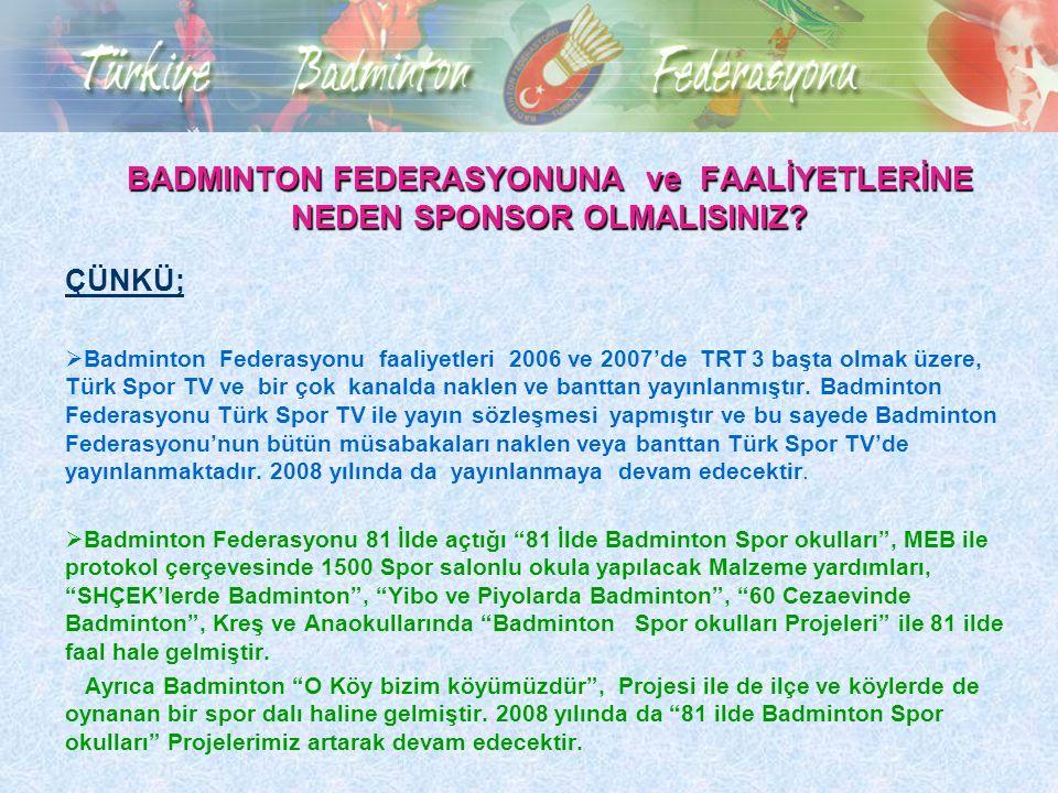 BADMINTON FEDERASYONUNA ve FAALİYETLERİNE NEDEN SPONSOR OLMALISINIZ?  Badminton Federasyonu faaliyetleri 2006 ve 2007'de TRT 3 başta olmak üzere, Tür