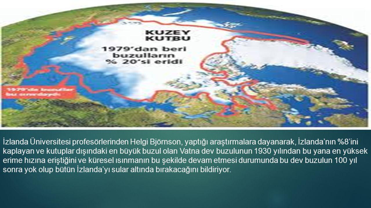 İzlanda Üniversitesi profesörlerinden Helgi Björnson, yaptığı araştırmalara dayanarak, İzlanda'nın %8'ini kaplayan ve kutuplar dışındaki en büyük buzul olan Vatna dev buzulunun 1930 yılından bu yana en yüksek erime hızına eriştiğini ve küresel ısınmanın bu şekilde devam etmesi durumunda bu dev buzulun 100 yıl sonra yok olup bütün İzlanda'yı sular altında bırakacağını bildiriyor.