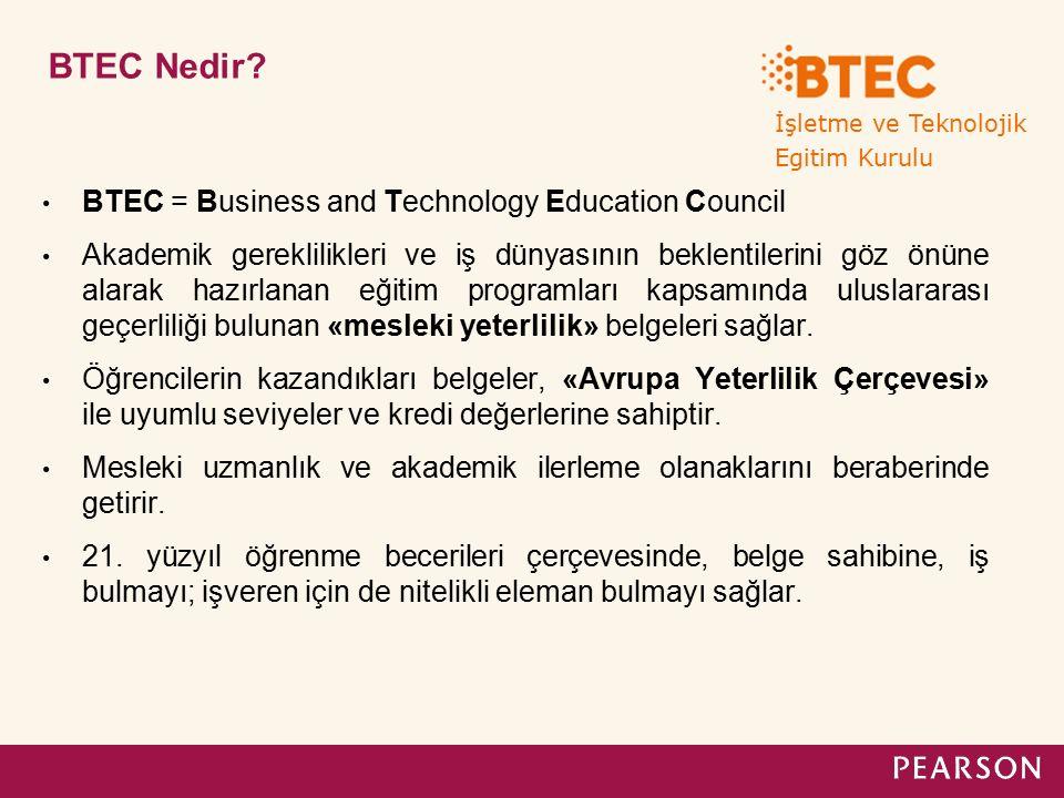 BTEC Nedir? BTEC = Business and Technology Education Council Akademik gereklilikleri ve iş dünyasının beklentilerini göz önüne alarak hazırlanan eğiti