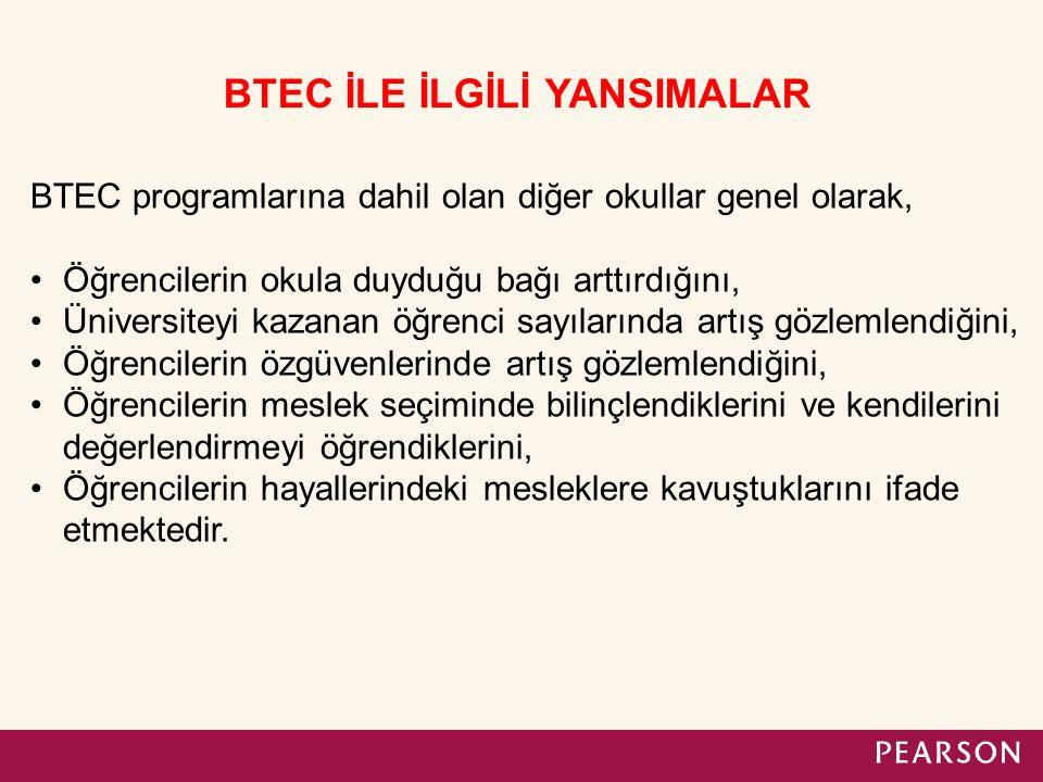 BTEC programlarına dahil olan diğer okullar genel olarak, Öğrencilerin okula duyduğu bağı arttırdığını, Üniversiteyi kazanan öğrenci sayılarında artış