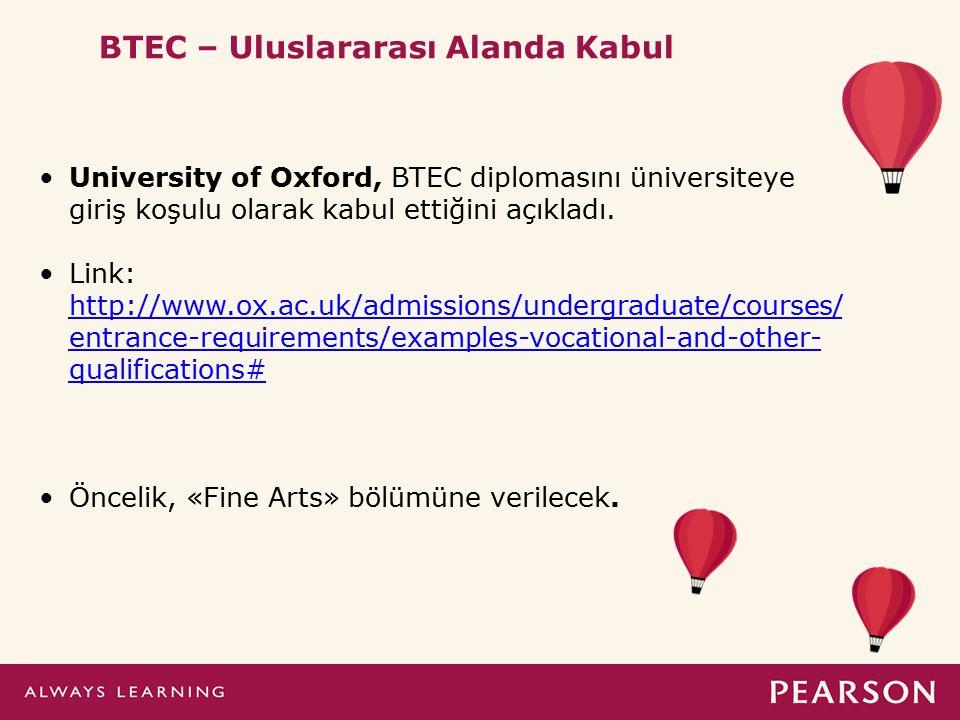 * University of Oxford, BTEC diplomasını üniversiteye giriş koşulu olarak kabul ettiğini açıkladı. Link: http://www.ox.ac.uk/admissions/undergraduate/