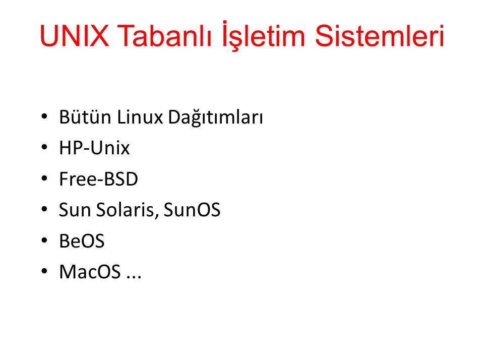 UNIX Tabanlı İşletim Sistemleri Bütün Linux Dağıtımları HP-Unix Free-BSD Sun Solaris, SunOS BeOS MacOS...
