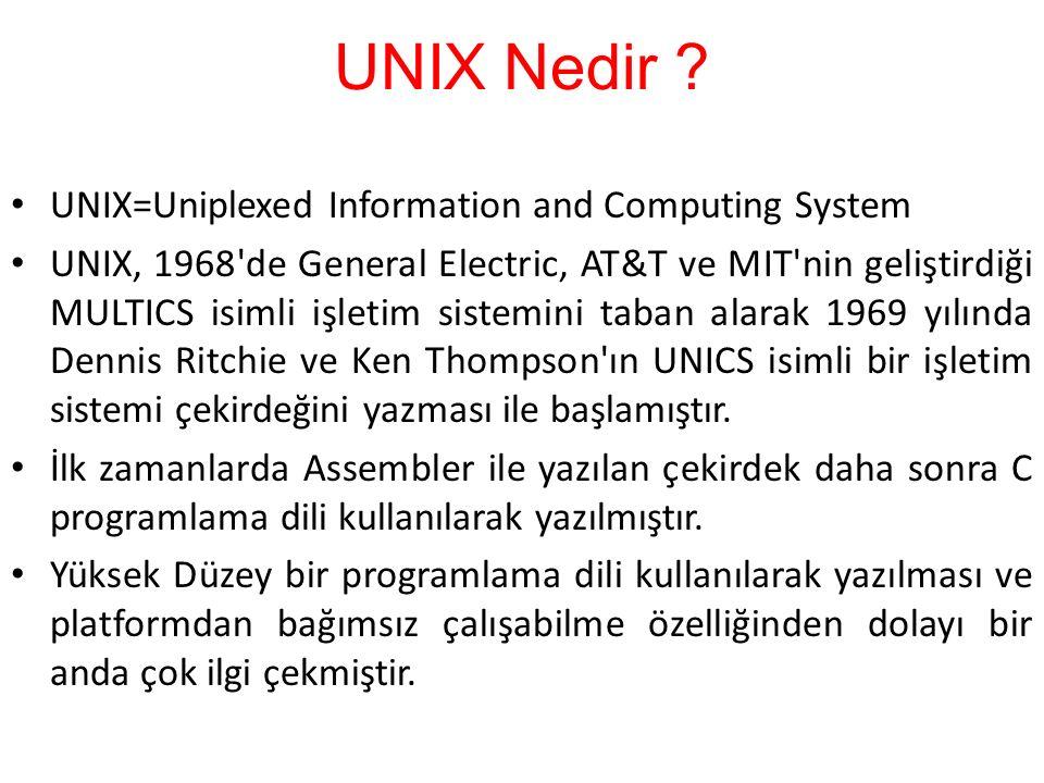 UNIX Nedir ? UNIX=Uniplexed Information and Computing System UNIX, 1968'de General Electric, AT&T ve MIT'nin geliştirdiği MULTICS isimli işletim siste