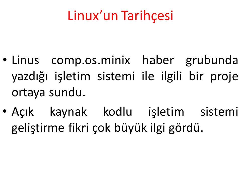 Linux'un Tarihçesi Linus comp.os.minix haber grubunda yazdığı işletim sistemi ile ilgili bir proje ortaya sundu. Açık kaynak kodlu işletim sistemi gel