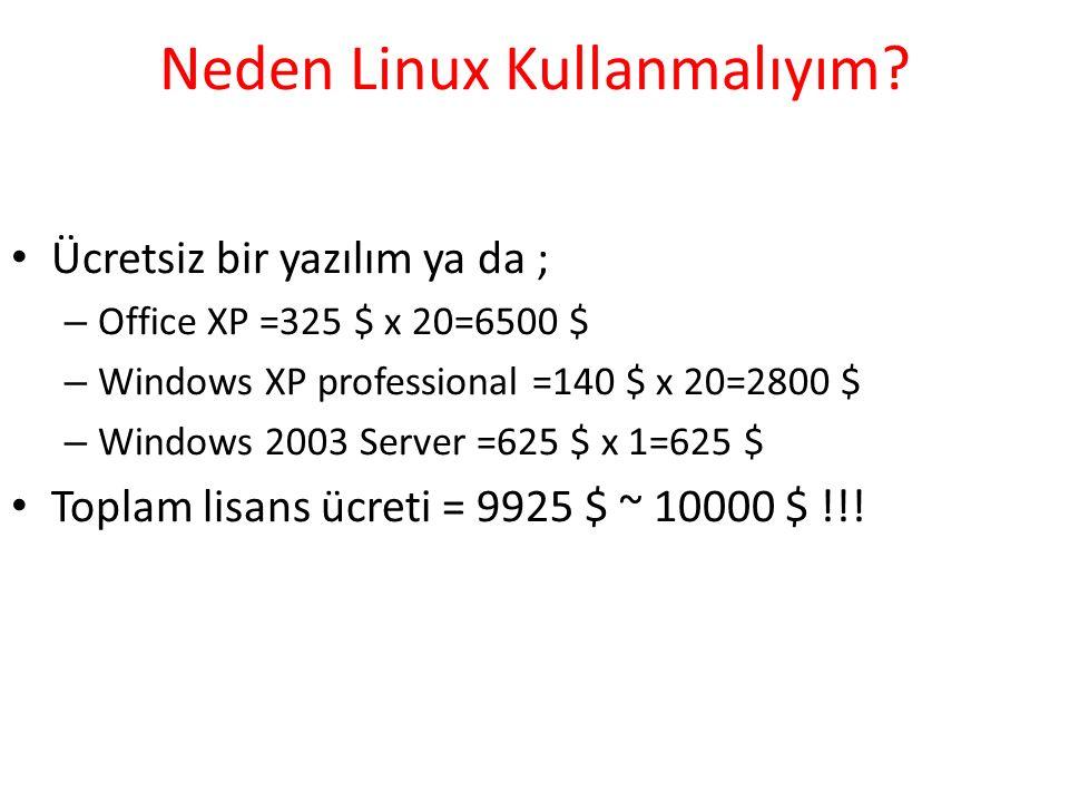 Neden Linux Kullanmalıyım? Ücretsiz bir yazılım ya da ; – Office XP =325 $ x 20=6500 $ – Windows XP professional =140 $ x 20=2800 $ – Windows 2003 Ser