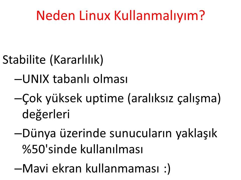 Neden Linux Kullanmalıyım? Stabilite (Kararlılık) – UNIX tabanlı olması – Çok yüksek uptime (aralıksız çalışma) değerleri – Dünya üzerinde sunucuları