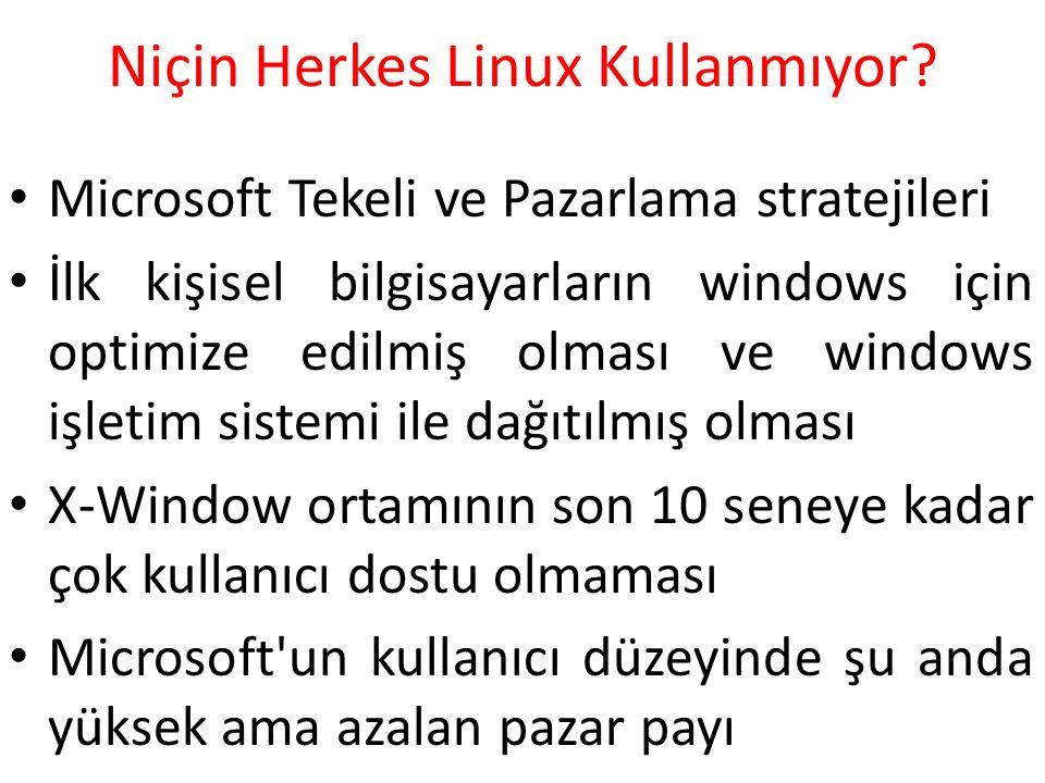Niçin Herkes Linux Kullanmıyor? Microsoft Tekeli ve Pazarlama stratejileri İlk kişisel bilgisayarların windows için optimize edilmiş olması ve windows