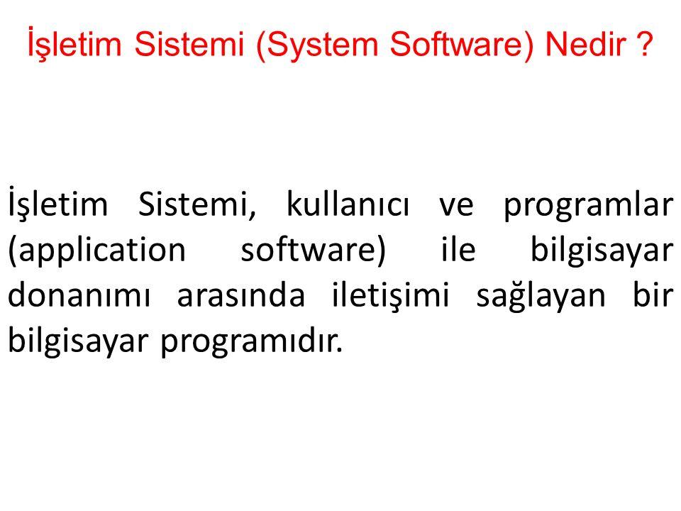 İşletim Sistemi (System Software) Nedir ? İşletim Sistemi, kullanıcı ve programlar (application software) ile bilgisayar donanımı arasında iletişimi s