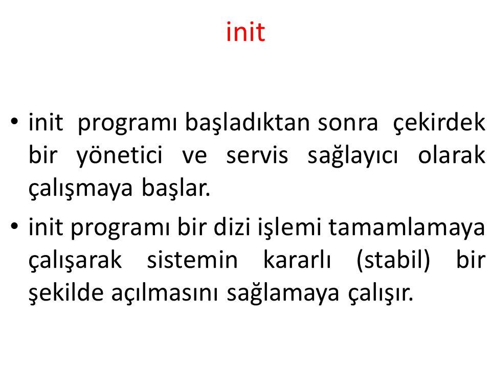 init init programı başladıktan sonra çekirdek bir yönetici ve servis sağlayıcı olarak çalışmaya başlar. init programı bir dizi işlemi tamamlamaya çalı