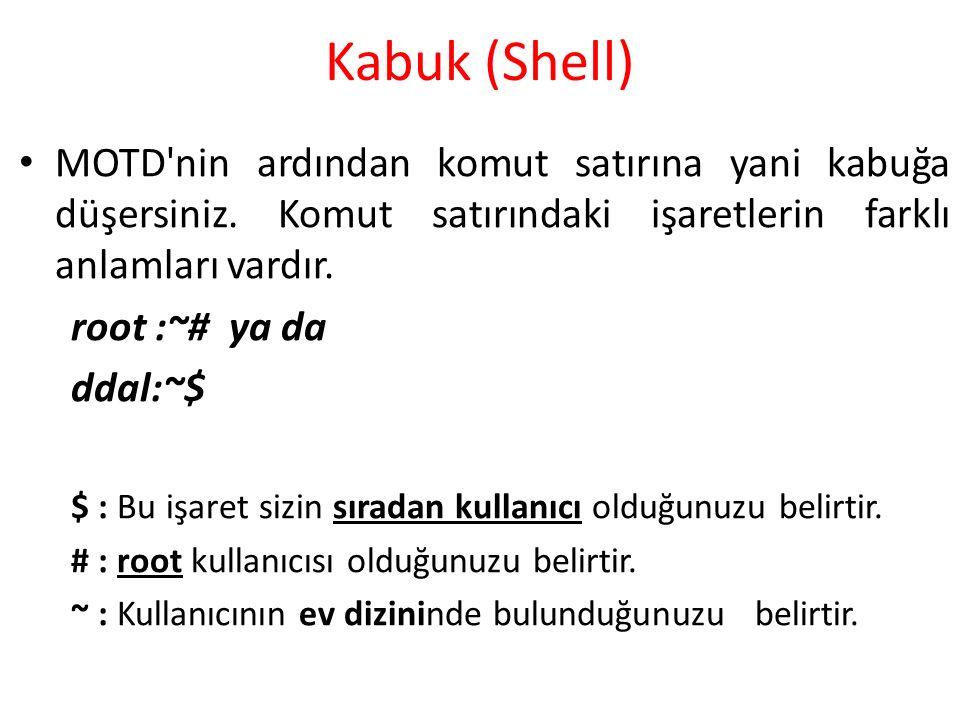 Kabuk (Shell) MOTD'nin ardından komut satırına yani kabuğa düşersiniz. Komut satırındaki işaretlerin farklı anlamları vardır. root :~# ya da ddal:~$