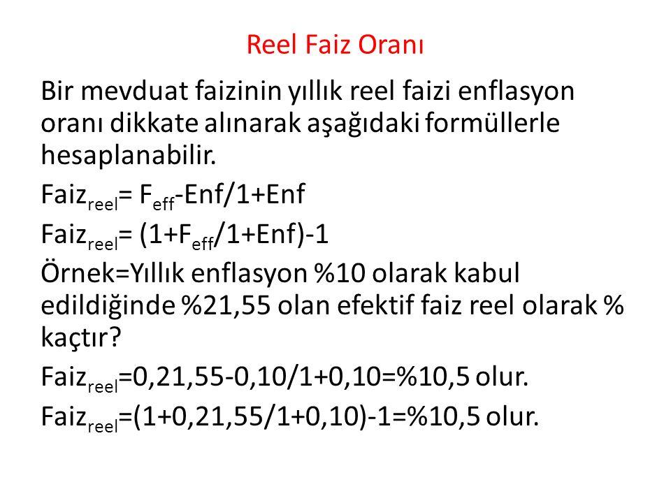 Reel Faiz Oranı Bir mevduat faizinin yıllık reel faizi enflasyon oranı dikkate alınarak aşağıdaki formüllerle hesaplanabilir.
