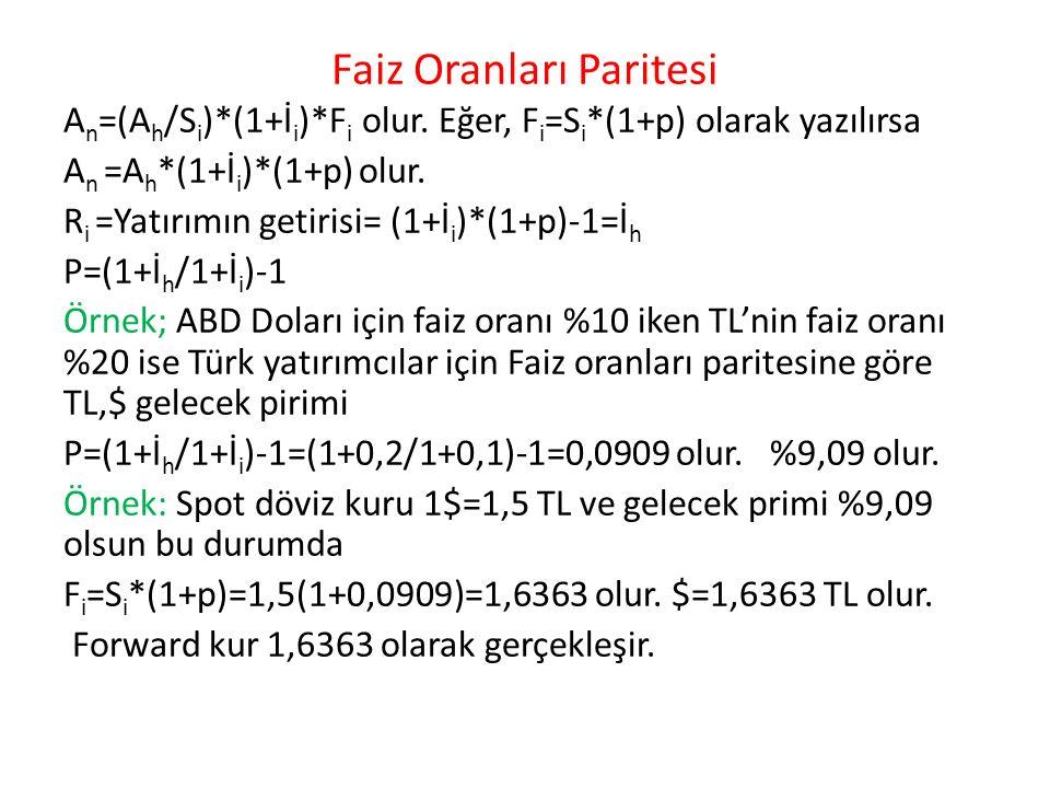 Faiz Oranları Paritesi A n =(A h /S i )*(1+İ i )*F i olur.