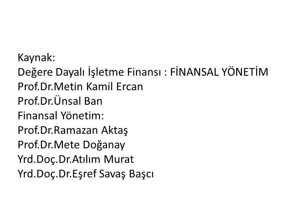 Kaynak: Değere Dayalı İşletme Finansı : FİNANSAL YÖNETİM Prof.Dr.Metin Kamil Ercan Prof.Dr.Ünsal Ban Finansal Yönetim: Prof.Dr.Ramazan Aktaş Prof.Dr.Mete Doğanay Yrd.Doç.Dr.Atılım Murat Yrd.Doç.Dr.Eşref Savaş Başcı