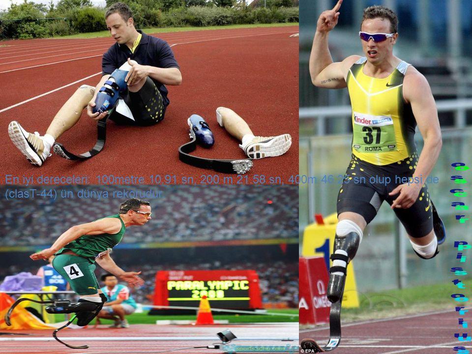 En iyi dereceleri: 100metre 10.91 sn, 200 m 21.58 sn, 400m 46.25 sn olup hepsi de (clasT-44) ün dünya rekorudur.