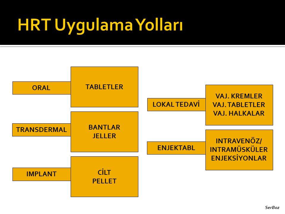 ORAL TRANSDERMAL IMPLANT LOKAL TEDAVİ ENJEKTABL TABLETLER BANTLAR JELLER CİLT PELLET VAJ. KREMLER VAJ. TABLETLER VAJ. HALKALAR INTRAVENÖZ/ INTRAMÜSKÜL