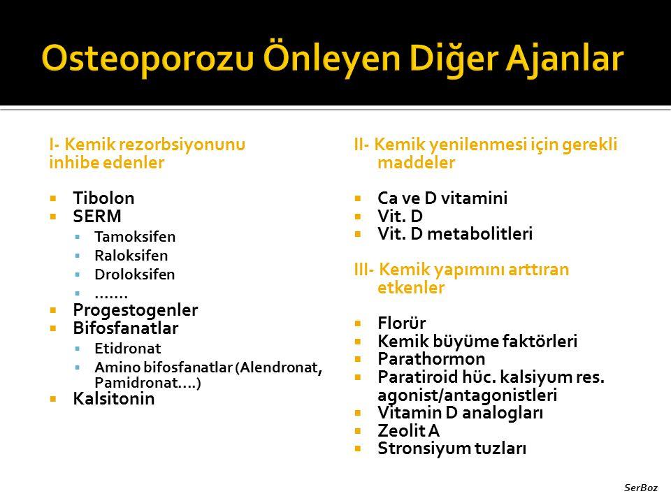 I- Kemik rezorbsiyonunu inhibe edenler  Tibolon  SERM  Tamoksifen  Raloksifen  Droloksifen .......  Progestogenler  Bifosfanatlar  Etidronat