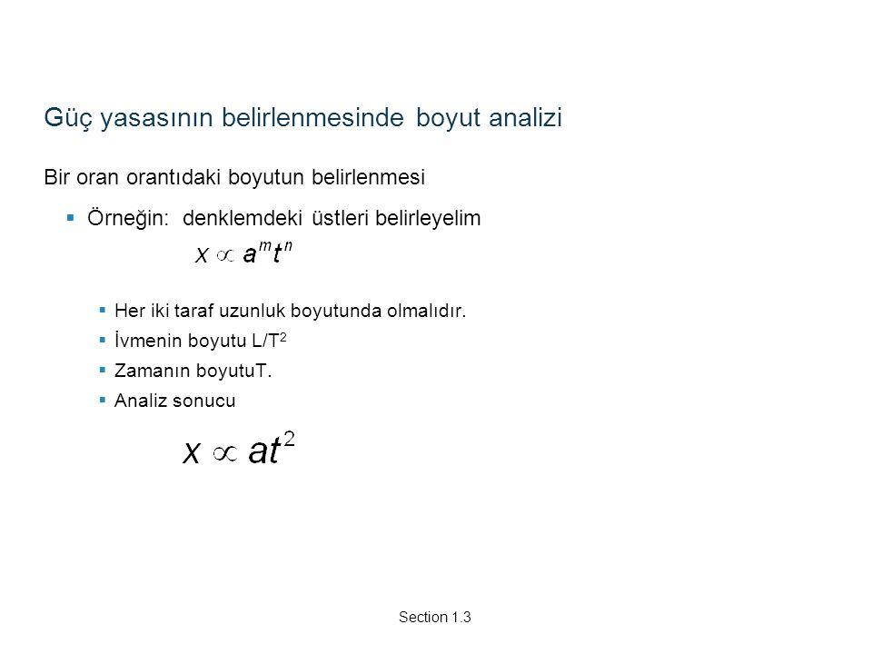 Güç yasasının belirlenmesinde boyut analizi Bir oran orantıdaki boyutun belirlenmesi  Örneğin: denklemdeki üstleri belirleyelim  Her iki taraf uzunl