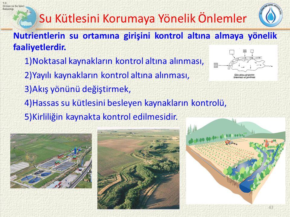 Su Kütlesini Korumaya Yönelik Önlemler Nutrientlerin su ortamına girişini kontrol altına almaya yönelik faaliyetlerdir. 1)Noktasal kaynakların kontrol