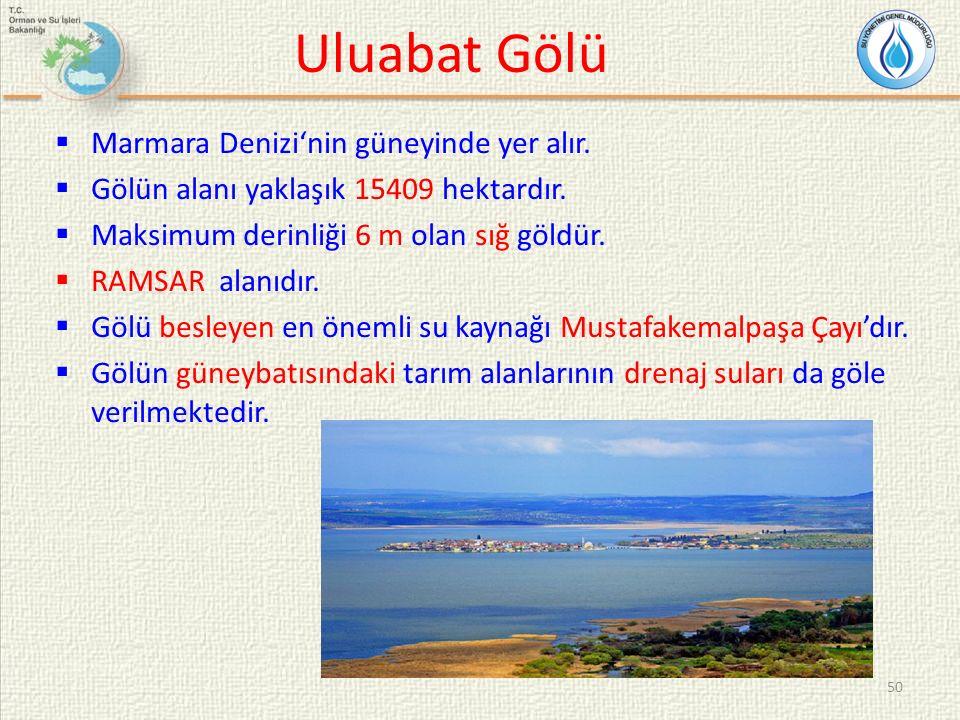 Uluabat Gölü  Marmara Denizi'nin güneyinde yer alır.  Gölün alanı yaklaşık 15409 hektardır.  Maksimum derinliği 6 m olan sığ göldür.  RAMSAR alanı