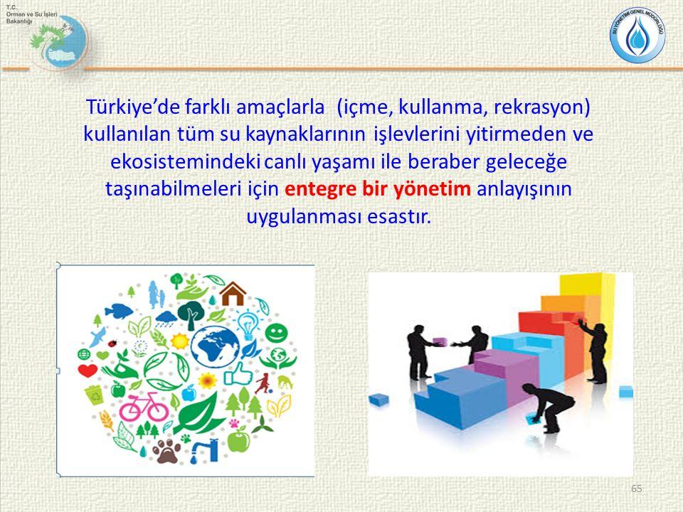 65 Türkiye'de farklı amaçlarla (içme, kullanma, rekrasyon) kullanılan tüm su kaynaklarının işlevlerini yitirmeden ve ekosistemindeki canlı yaşamı ile