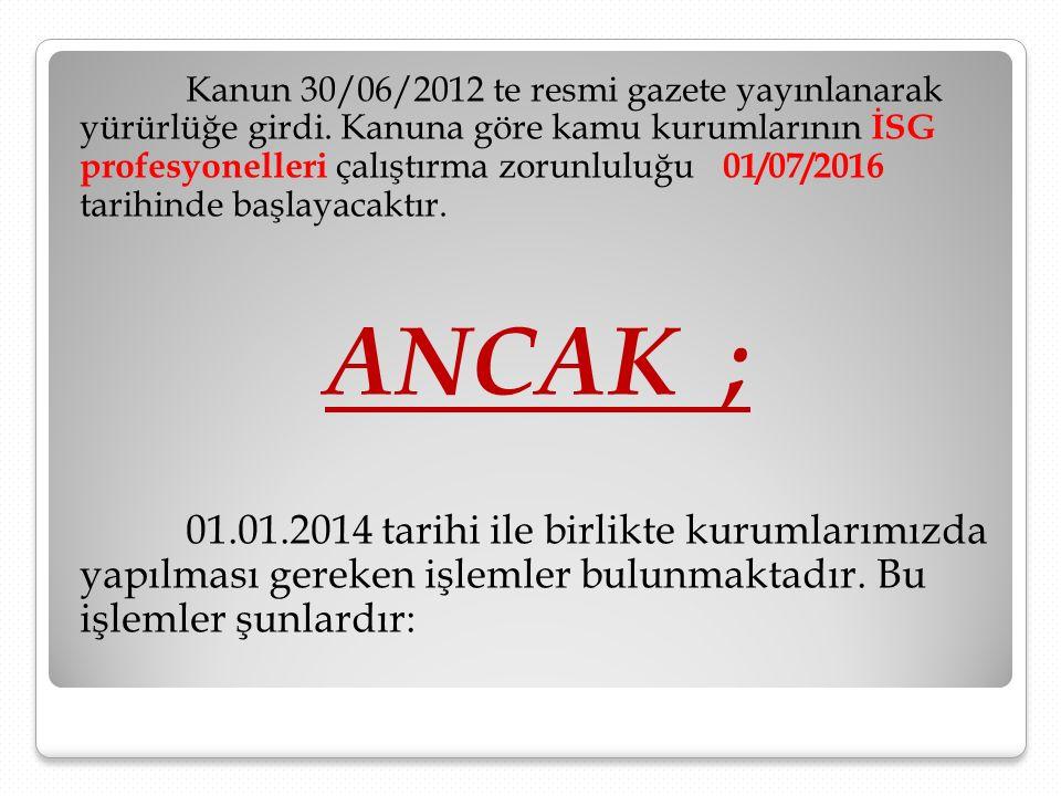 Kanun 30/06/2012 te resmi gazete yayınlanarak yürürlüğe girdi. Kanuna göre kamu kurumlarının İSG profesyonelleri çalıştırma zorunluluğu 01/07/2016 tar