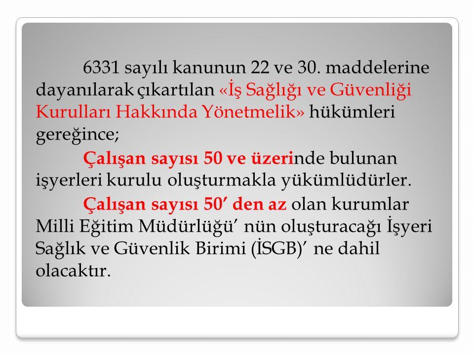 6331 sayılı kanunun 22 ve 30. maddelerine dayanılarak çıkartılan «İş Sağlığı ve Güvenliği Kurulları Hakkında Yönetmelik» hükümleri gereğince; Çalışan
