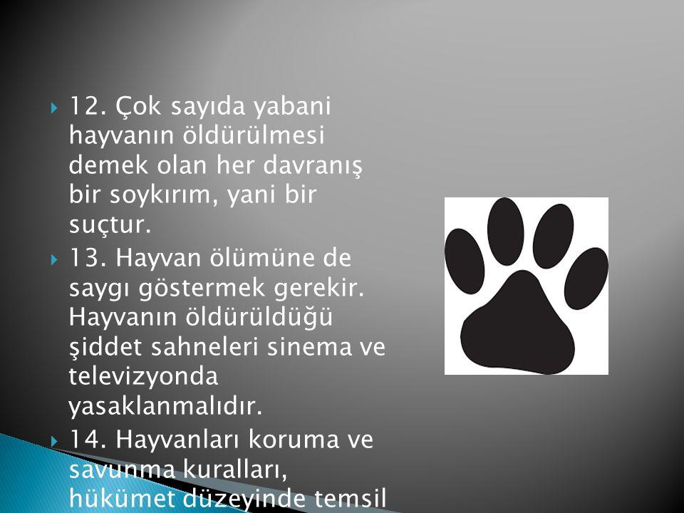  12.Çok sayıda yabani hayvanın öldürülmesi demek olan her davranış bir soykırım, yani bir suçtur.