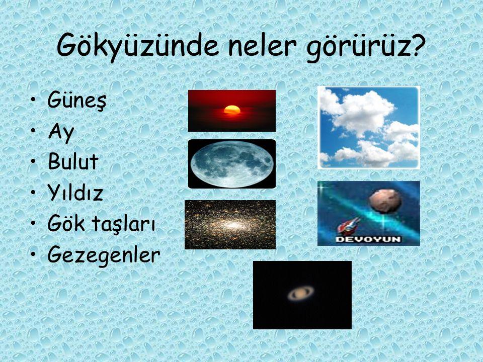 Gökyüzünde neler görürüz? Güneş Ay Bulut Yıldız Gök taşları Gezegenler