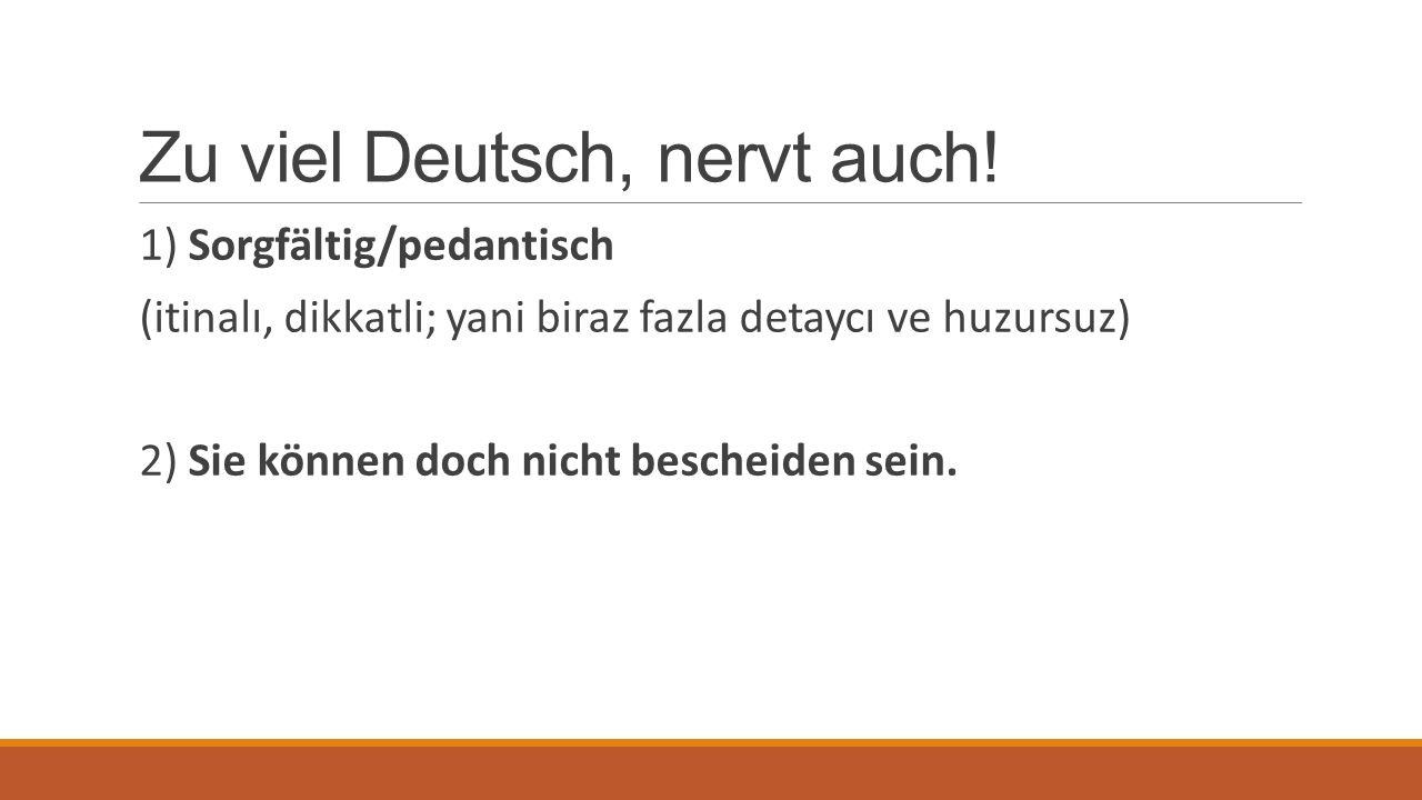Zu viel Deutsch, nervt auch! 1) Sorgfältig/pedantisch (itinalı, dikkatli; yani biraz fazla detaycı ve huzursuz) 2) Sie können doch nicht bescheiden se
