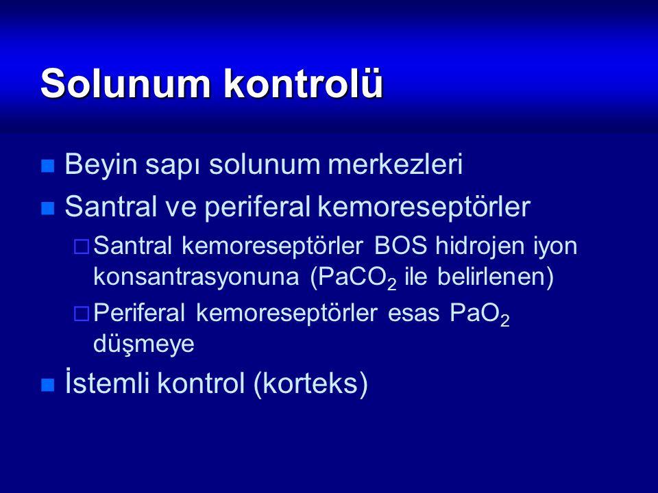 Solunum kontrolü Beyin sapı solunum merkezleri Santral ve periferal kemoreseptörler  Santral kemoreseptörler BOS hidrojen iyon konsantrasyonuna (PaCO