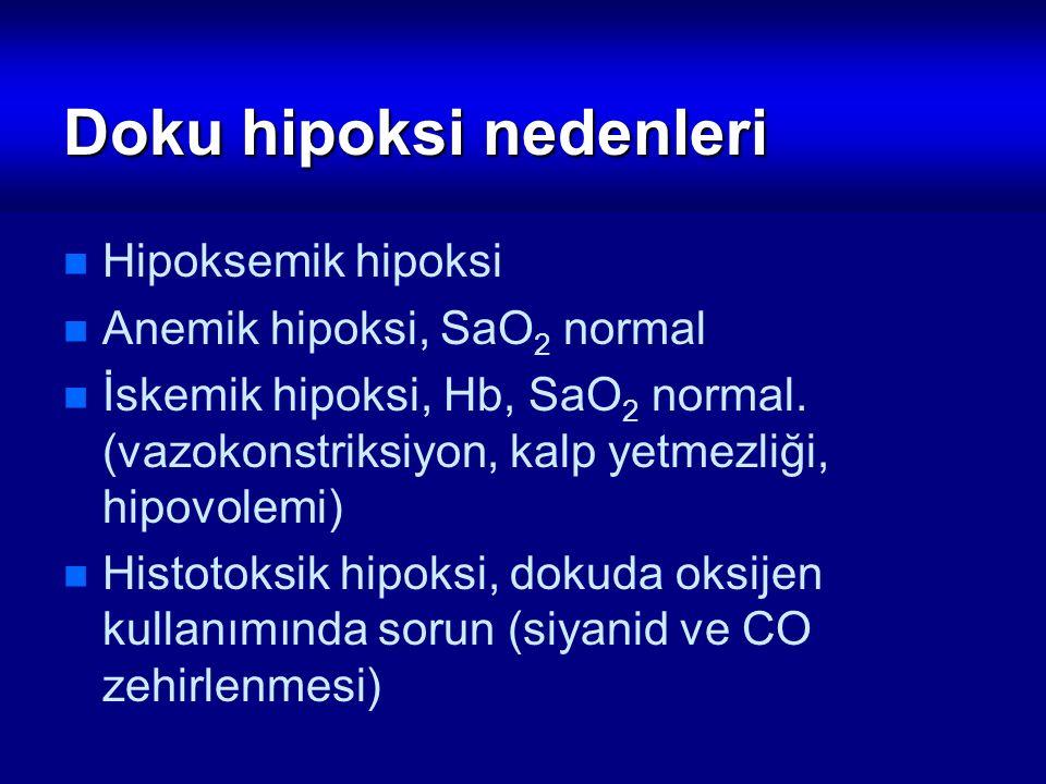 Doku hipoksi nedenleri Hipoksemik hipoksi Anemik hipoksi, SaO 2 normal İskemik hipoksi, Hb, SaO 2 normal. (vazokonstriksiyon, kalp yetmezliği, hipovol
