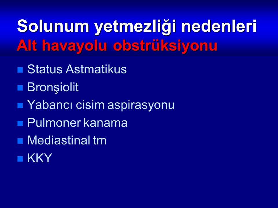 Solunum yetmezliği nedenleri Alt havayolu obstrüksiyonu Status Astmatikus Bronşiolit Yabancı cisim aspirasyonu Pulmoner kanama Mediastinal tm KKY