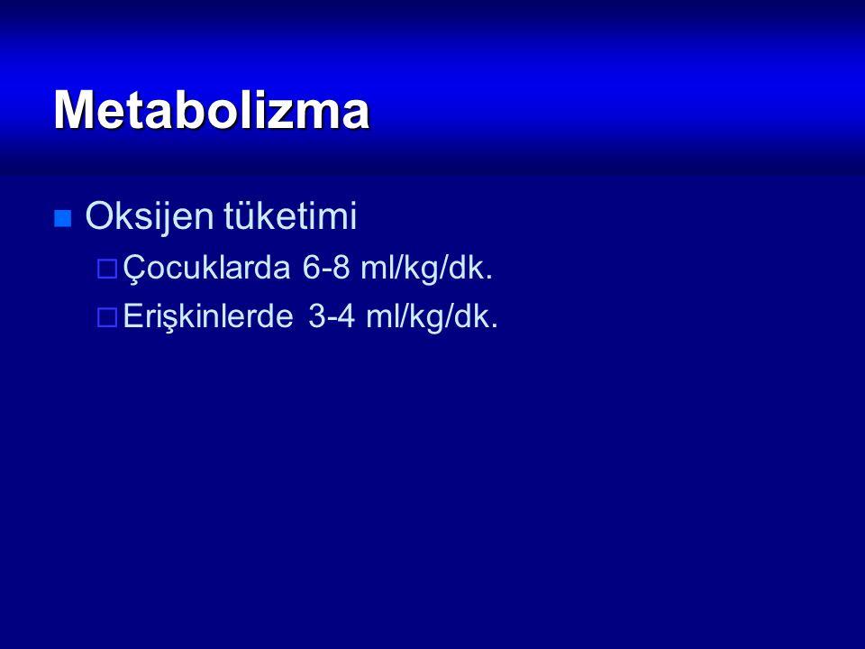 Metabolizma Oksijen tüketimi  Çocuklarda 6-8 ml/kg/dk.  Erişkinlerde 3-4 ml/kg/dk.