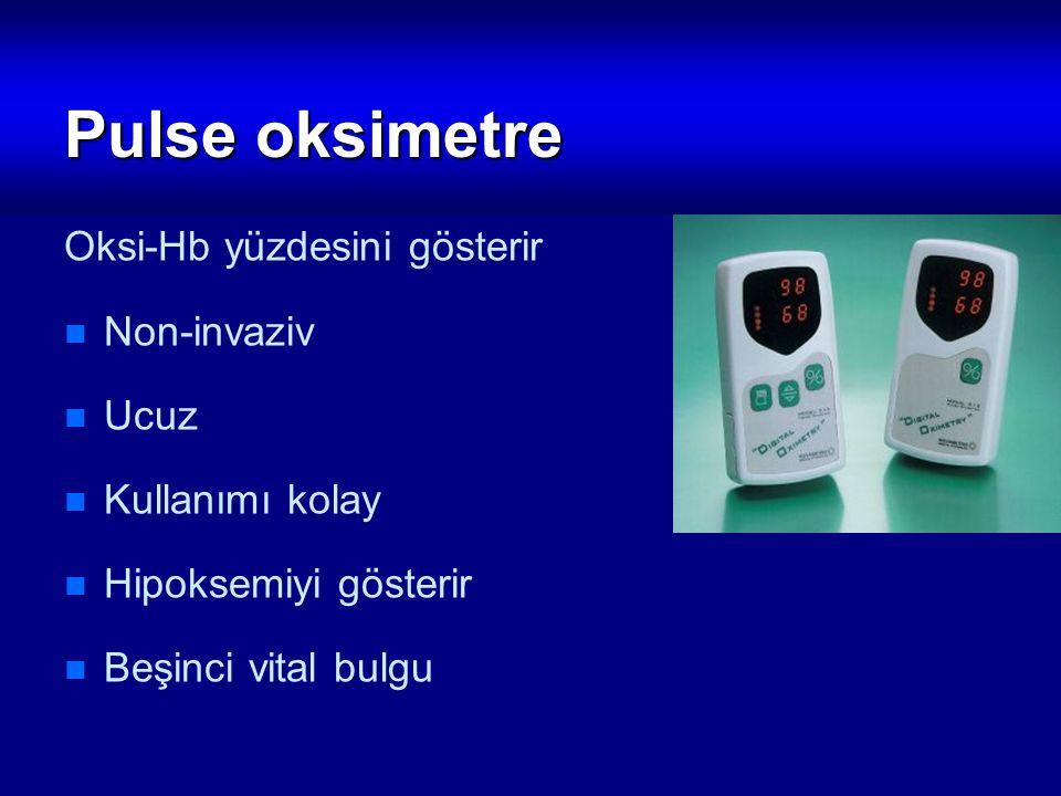Pulse oksimetre Oksi-Hb yüzdesini gösterir Non-invaziv Ucuz Kullanımı kolay Hipoksemiyi gösterir Beşinci vital bulgu