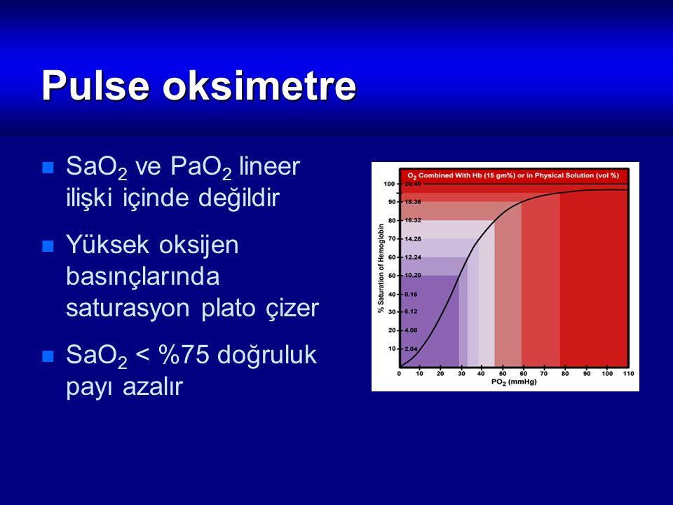 Pulse oksimetre SaO 2 ve PaO 2 lineer ilişki içinde değildir Yüksek oksijen basınçlarında saturasyon plato çizer SaO 2 < %75 doğruluk payı azalır