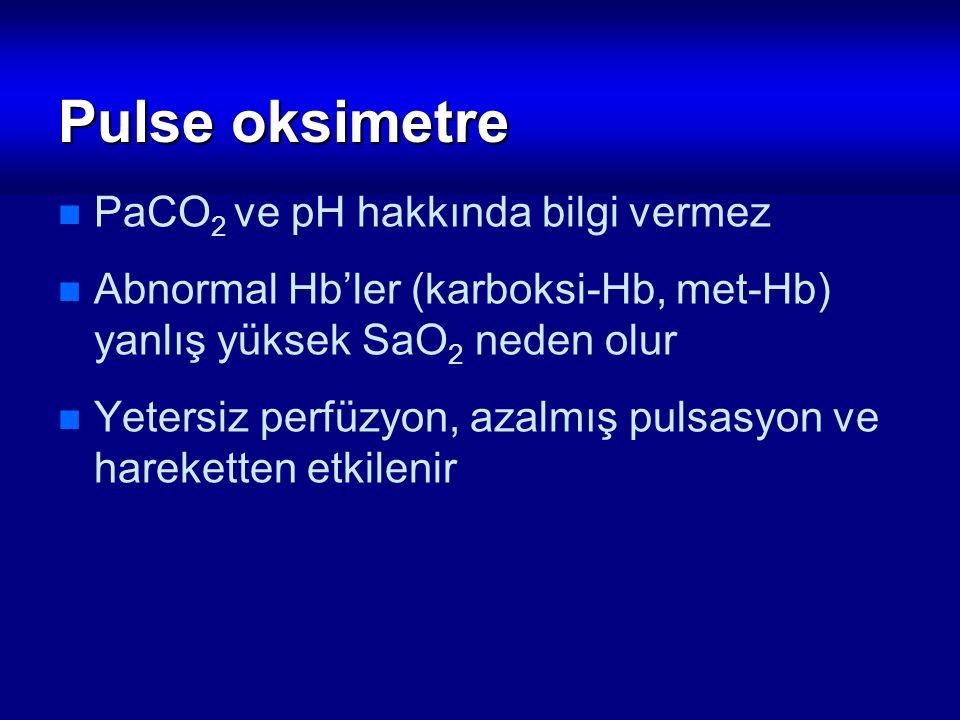 Pulse oksimetre PaCO 2 ve pH hakkında bilgi vermez Abnormal Hb'ler (karboksi-Hb, met-Hb) yanlış yüksek SaO 2 neden olur Yetersiz perfüzyon, azalmış pu
