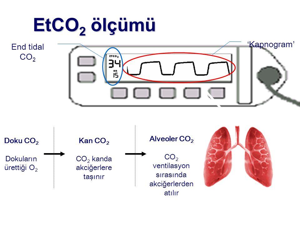 EtCO 2 ölçümü Doku CO 2 Dokuların ürettiği O 2 Alveoler CO 2 CO 2 ventilasyon sırasında akciğerlerden atılır Kan CO 2 CO 2 kanda akciğerlere taşınır E