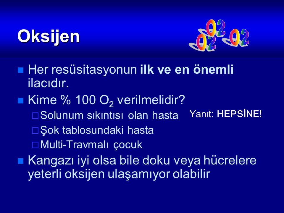 Oksijen Her resüsitasyonun ilk ve en önemli ilacıdır. Kime % 100 O 2 verilmelidir?  Solunum sıkıntısı olan hasta  Şok tablosundaki hasta  Multi-Tra