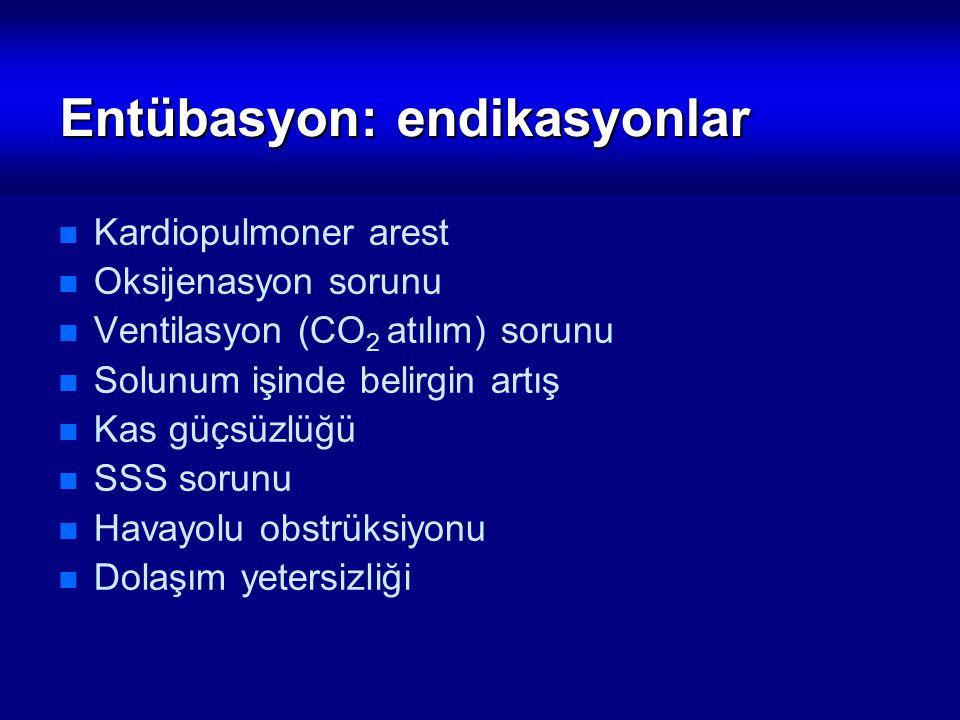 Entübasyon: endikasyonlar Kardiopulmoner arest Oksijenasyon sorunu Ventilasyon (CO 2 atılım) sorunu Solunum işinde belirgin artış Kas güçsüzlüğü SSS s
