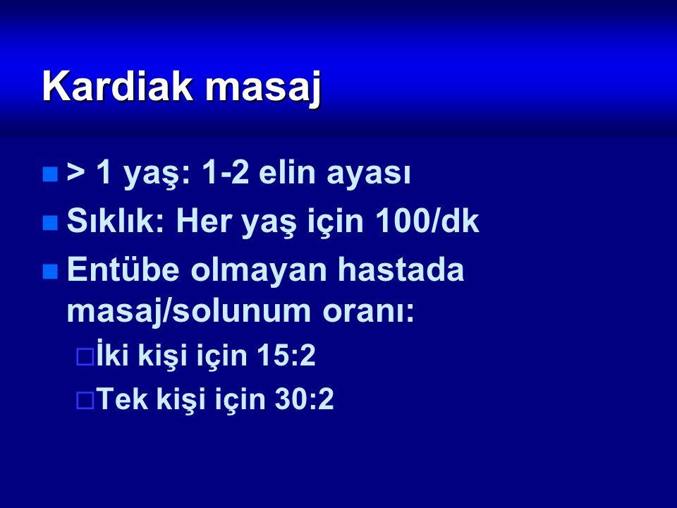Kardiak masaj > 1 yaş: 1-2 elin ayası Sıklık: Her yaş için 100/dk Entübe olmayan hastada masaj/solunum oranı:  İki kişi için 15:2  Tek kişi için 30: