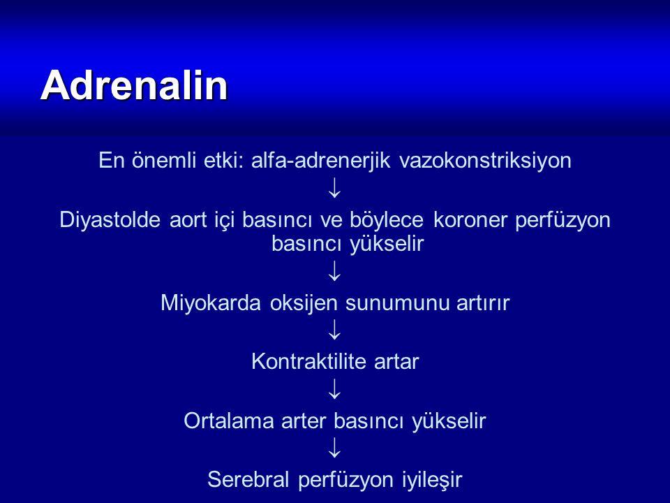Adrenalin En önemli etki: alfa-adrenerjik vazokonstriksiyon  Diyastolde aort içi basıncı ve böylece koroner perfüzyon basıncı yükselir  Miyokarda ok