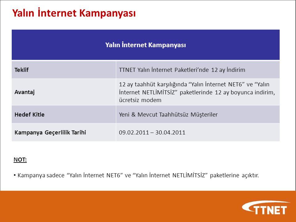 NOT: Kampanya sadece Yalın İnternet NET6 ve Yalın İnternet NETLİMİTSİZ paketlerine açıktır.