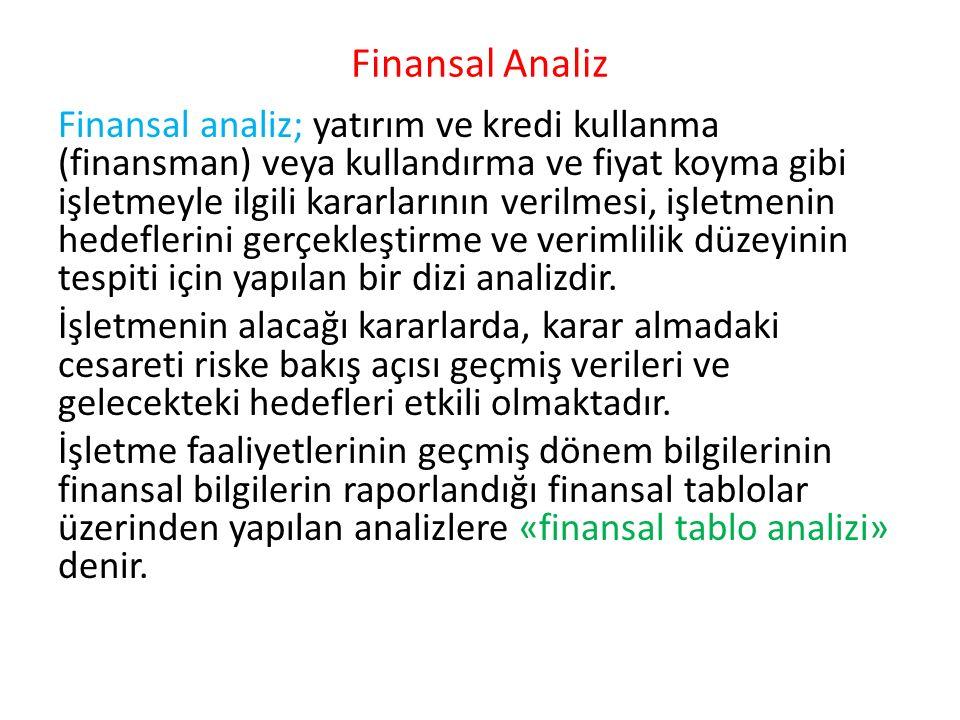 Finansal Analiz Finansal analiz; yatırım ve kredi kullanma (finansman) veya kullandırma ve fiyat koyma gibi işletmeyle ilgili kararlarının verilmesi,