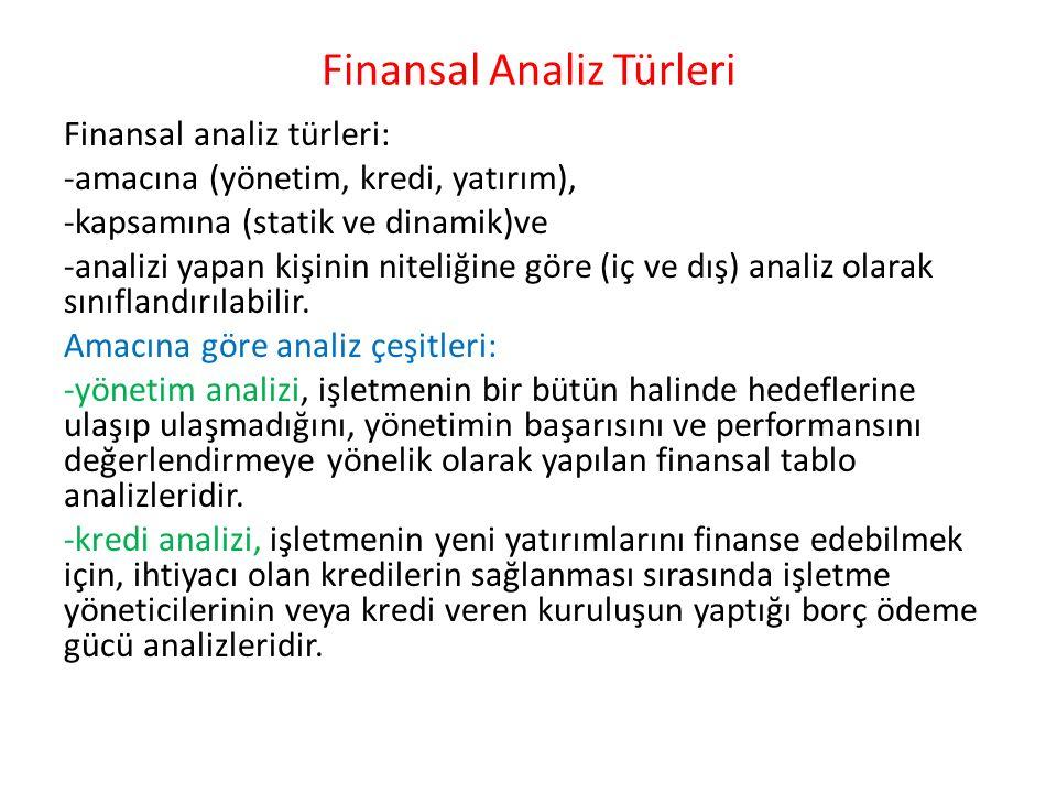 Finansal Analiz Türleri Finansal analiz türleri: -amacına (yönetim, kredi, yatırım), -kapsamına (statik ve dinamik)ve -analizi yapan kişinin niteliğin