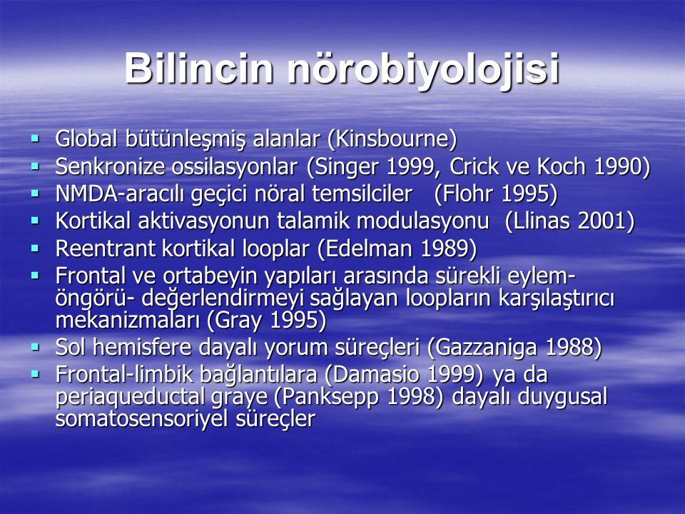 Bilincin nörobiyolojisi  Global bütünleşmiş alanlar (Kinsbourne)  Senkronize ossilasyonlar (Singer 1999, Crick ve Koch 1990)  NMDA-aracılı geçici n