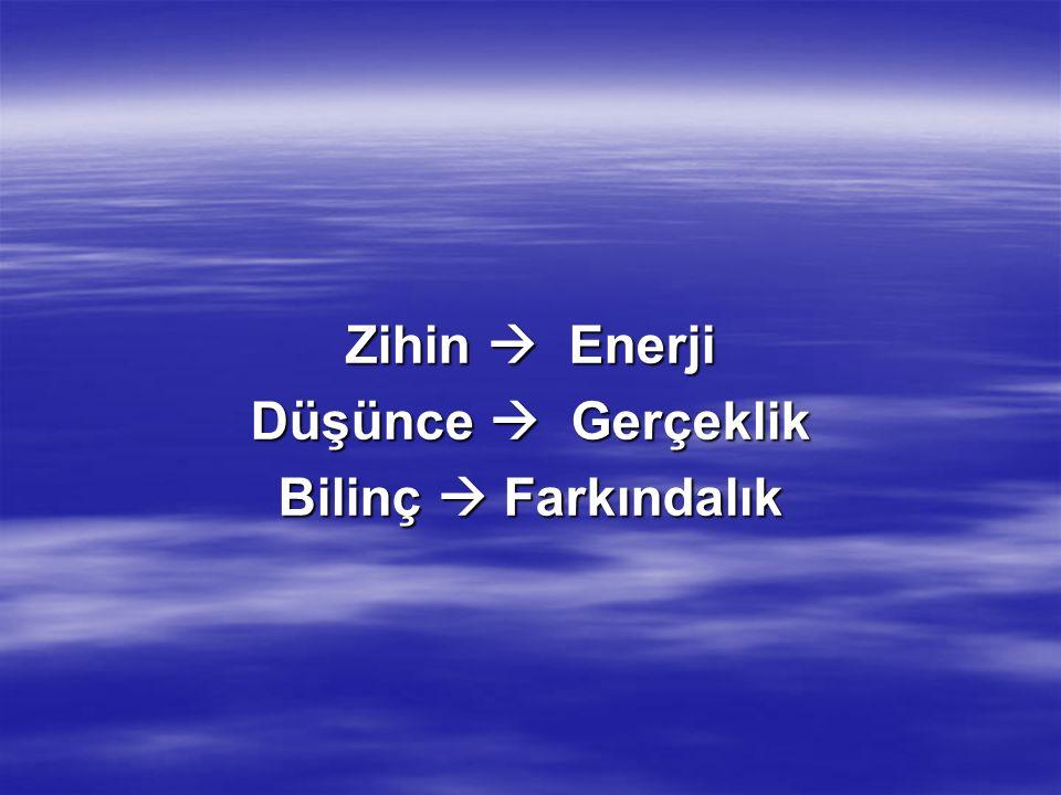 Zihin  Zihin = Biliş + Farkındalık –Beyin süreçlerinin tümü –Bilinç süreçlerinin tümü –Her ikisi arasında olup bitenler  Zihin kokuların, seslerin ve renklerin dalga ve parçacık dünyasını tercüme eder