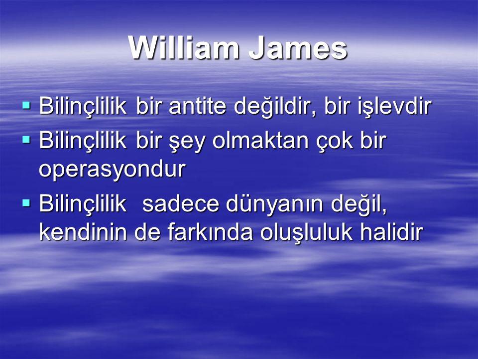 William James  Bilinçlilik bir antite değildir, bir işlevdir  Bilinçlilik bir şey olmaktan çok bir operasyondur  Bilinçlilik sadece dünyanın değil,