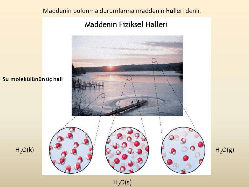 H 2 O(k) H 2 O(s) H 2 O(g) Maddenin bulunma durumlarına maddenin halleri denir. Su molekülünün üç hali