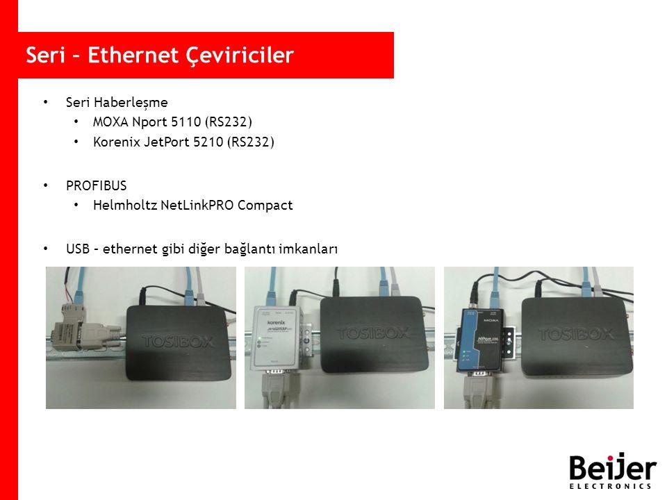 Seri – Ethernet Çeviriciler Seri Haberleşme MOXA Nport 5110 (RS232) Korenix JetPort 5210 (RS232) PROFIBUS Helmholtz NetLinkPRO Compact USB – ethernet gibi diğer bağlantı imkanları